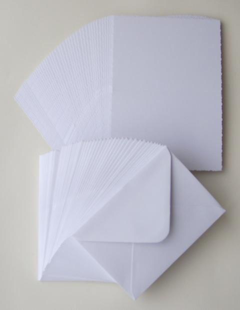 5'X 7' WHITE CARDS AND ENVELOPES